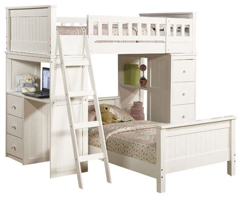 Safe Functional White Youth Twin Storage Loft Bunk Bed Drawers Study Desk Hutch   Contemporary