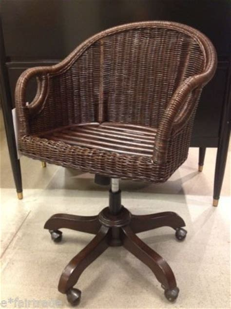 pottery barn wingate rattan swivel desk chair espresso