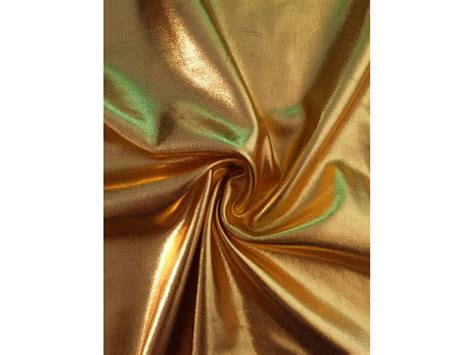 stretch foil look foil 4 way stretch lycra fabric sunflower gold