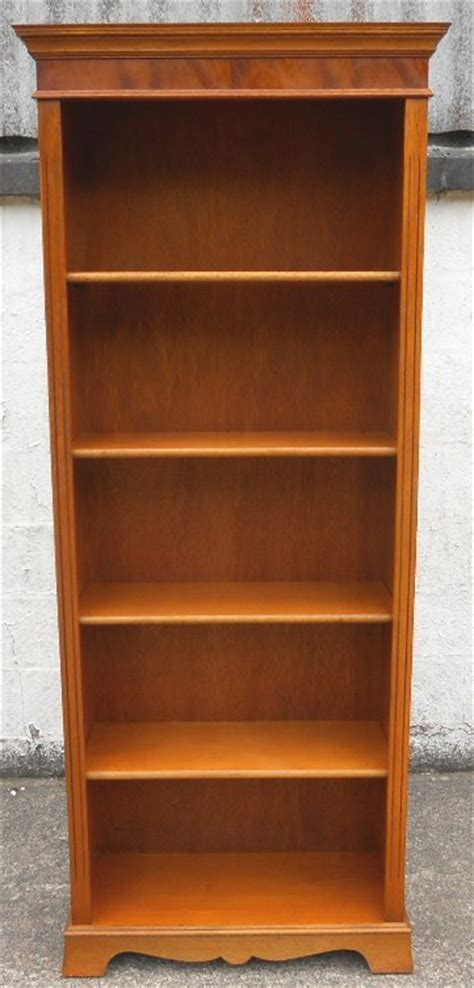 Tall Yew Wood Standing Open Bookcase Shelves in the