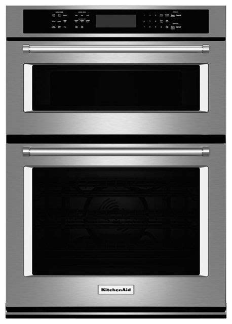 kitchenaid  single electric convection wall oven  built  microwave stainless steel