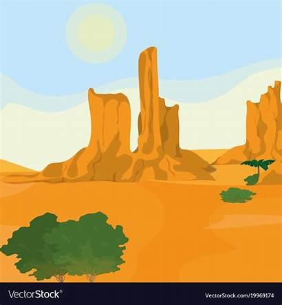 Desert Cartoon Landscape Vector Royalty Land