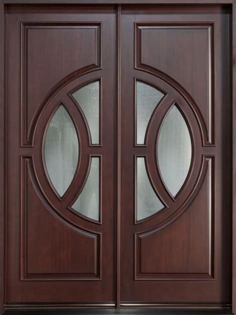 modern front door custom double solid wood  dark