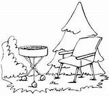 Coloring Grill Chair Pages Lawn Barbecue Bar Grilling Template sketch template
