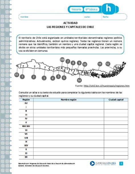 Las regiones y capitales de Chile Curriculum Nacional