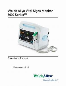 Welchallyn Vital Signs Monitor Series 6000 Directions For