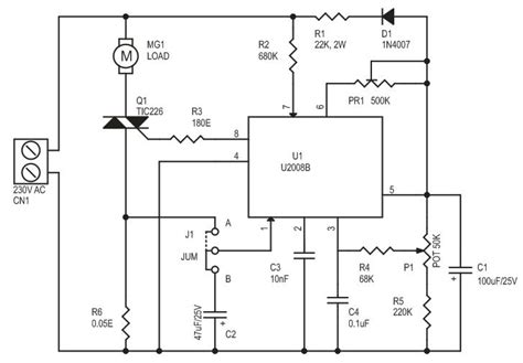 Ac Motor Schematic by Ac Motor Speed Controller Using U2008b Electronics Lab