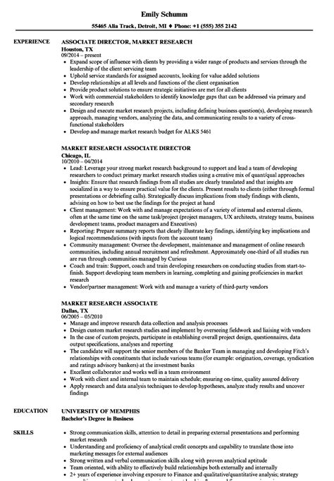 Market Research Resume Objective by Market Research Associate Resume Sles Velvet