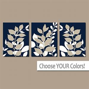 Navy beige wall art bedroom pictures leaves canvas or prints