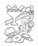 Coloring Candy Pages Sweets Popular Treats sketch template
