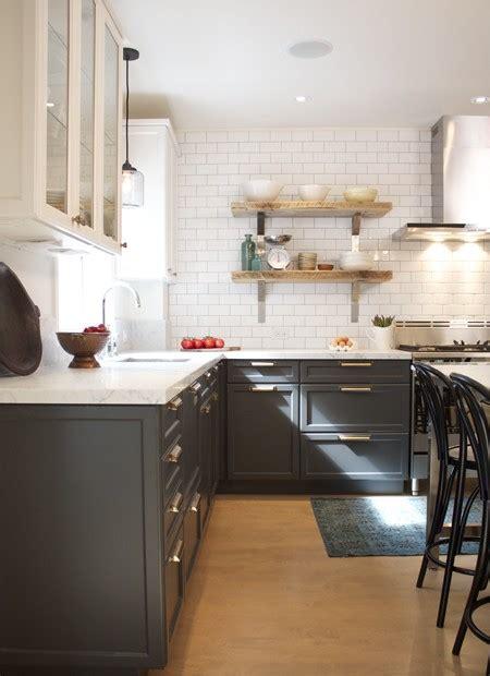 white upper cabinets grey lower trending dark lower kitchen cabinets the decorologist 262 | 276478864594644955 rVAnNpDL c