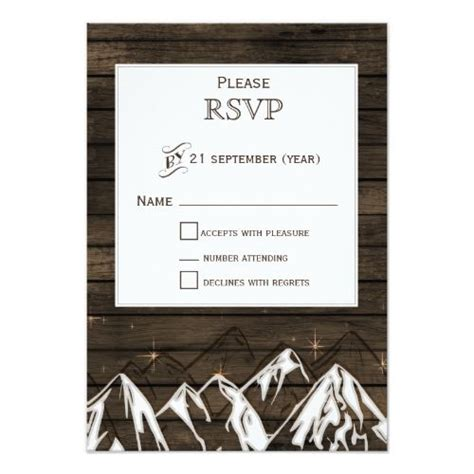 barn wood camping rustic mountains wedding rsvp zazzle