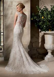 embroidered appliques on net over chantilly lace with With chantilly lace wedding dress