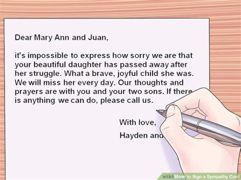 what to write in a sympathy card 3 ways to sign a sympathy card wikihow