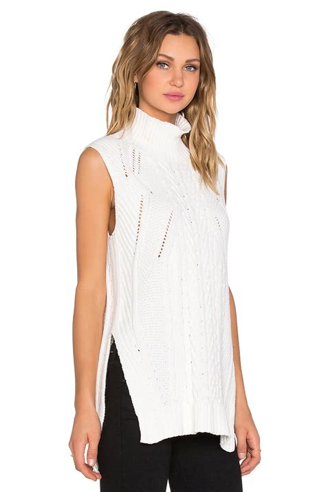 sleeveless turtleneck sweater 1 state sleeveless turtleneck mixed cable sweater in white