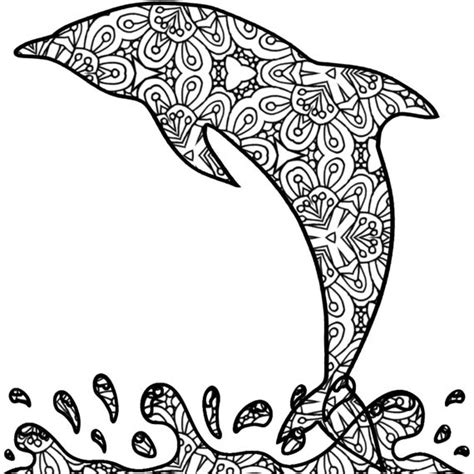 dolphin adult coloring page printable pdf by thinkprintableart