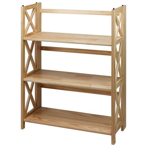 Folding Wood Bookcase by Casual Home X Design 3 Shelf Folding Bookcase 301