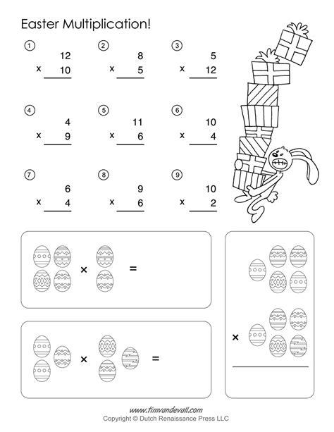 Easter Math Worksheets  Easter Multiplication Free Printable Addition Worksheets Part 1