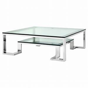 eichholtz huntington hollywood regency glass top 2 tier With silver square coffee table