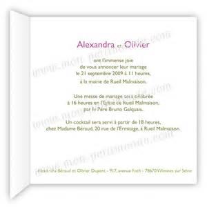 faire part mariage orchidã e exemple texte faire part mariage