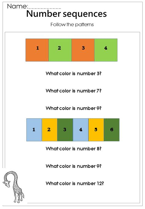 basic number sequences worksheet printable