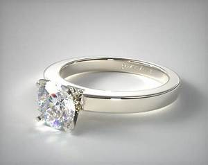 flat edged diamond solitaire engagement ring 14k white With flat wedding rings with diamonds