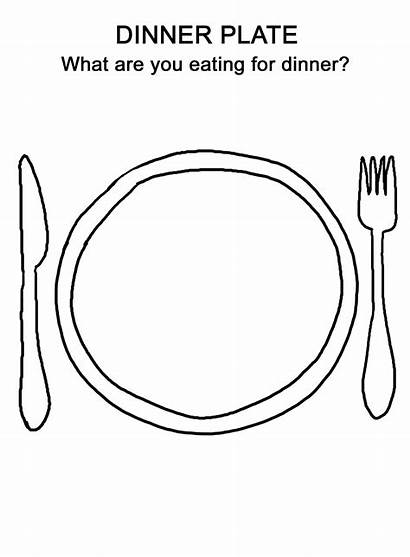Plate Coloring Dinner Pages Thanksgiving Preschool Worksheets