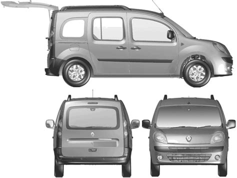 renault kangoo dimensions car blueprints renault kangoo blueprints vector