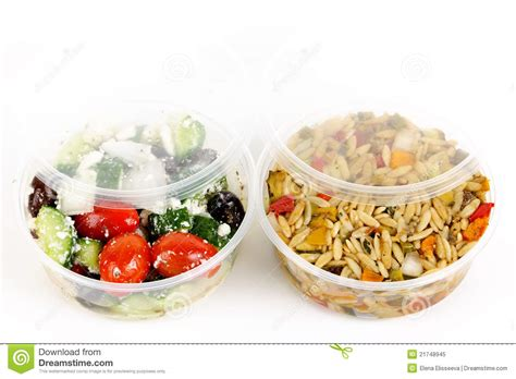 take out containers prepared salads in takeout containers stock image image