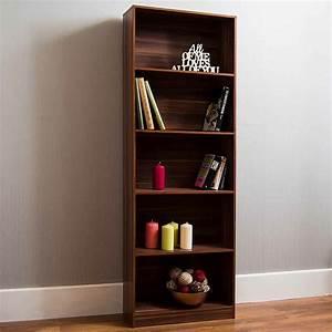 Walnut, 5, Tier, Bookcase
