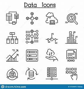 Data  Database  Graph  Chart  Diagram Icon Set In Thin