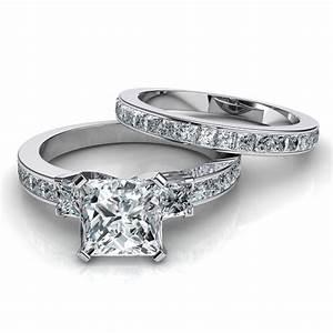 3 Stone Princess Cut Engagement Ring Wedding Band Bridal