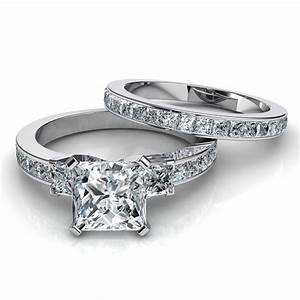 3 stone princess cut engagement ring wedding band bridal set for Engagement ring wedding band set