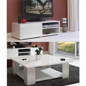Meuble Tv Complet : lime salon complet laqu blanc 2 pieces 1 meuble tv 96cm ~ Teatrodelosmanantiales.com Idées de Décoration