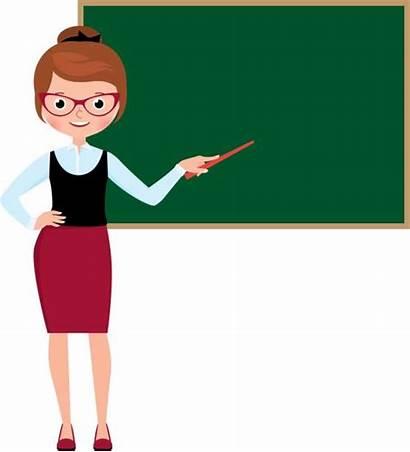 Teacher Clipart Woman Vector Standing Blackboard Female