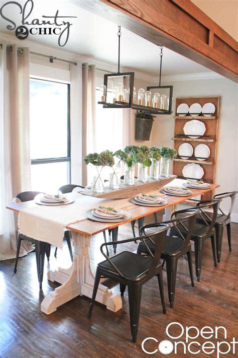 open concept kitchen dining room floor plans hgtv open concept dining table free plans shanty 2 chic 9659