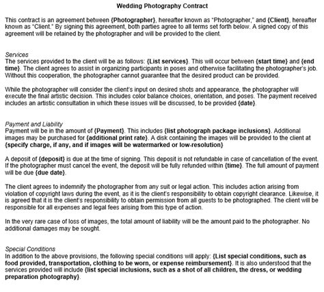 wedding photography contract template printable party