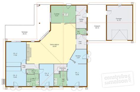 plan maison 4 chambre plain pied grande maison de plain pied dé du plan de grande