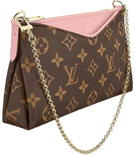 louis vuitton pallas clutch brown monogram rose poudre  removable leather strap pink canvas