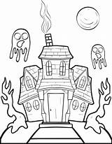 Haunted Coloring Pages Halloween Drawing Printable Houses Simple Colouring Getdrawings Ghost Fun Getcolorings Mpmschoolsupplies sketch template