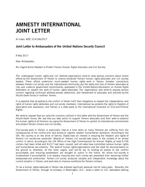 Joint Letter to Ambassadors of the United Nations Security