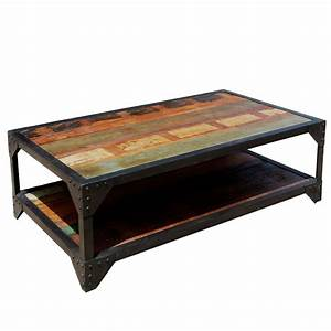 molino reclaimed wood 2 tier wrought iron industrial With reclaimed wood and wrought iron coffee table