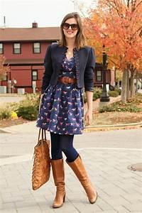 Vestido azul marino medias azules botas color camel y saco azul | Mudadas | Pinterest | Daily ...