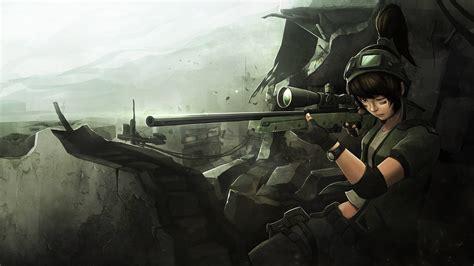 sniper rifle war anime hd wallpapers desktop