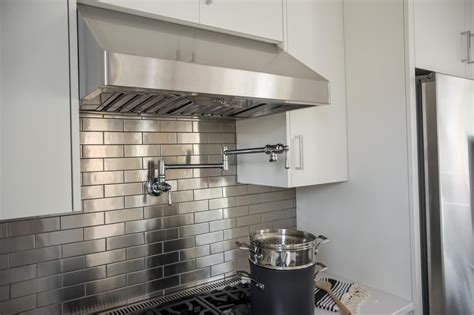 stainless steel kitchen backsplash tiles pictures of the hgtv smart home 2015 kitchen white 8240