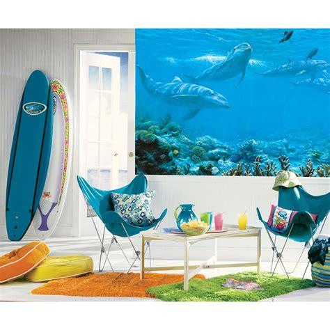 Ocean Dolphins Wall Mural  Under Water Wallpaper Accent Decor