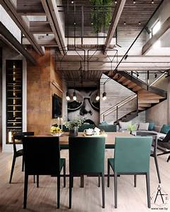 Warm, Industrial, Style, House, With, Layout