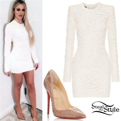 Khloe Kardashian: White Dress, Laser-Cut Pumps | Steal Her ...