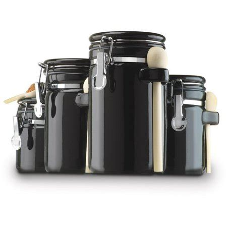 Black Ceramic Canister Sets Kitchen by Anchor Hocking 4 Ceramic Canister Set Black