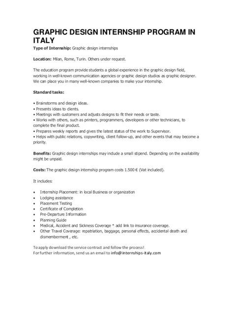 Graphic design internship program in italy